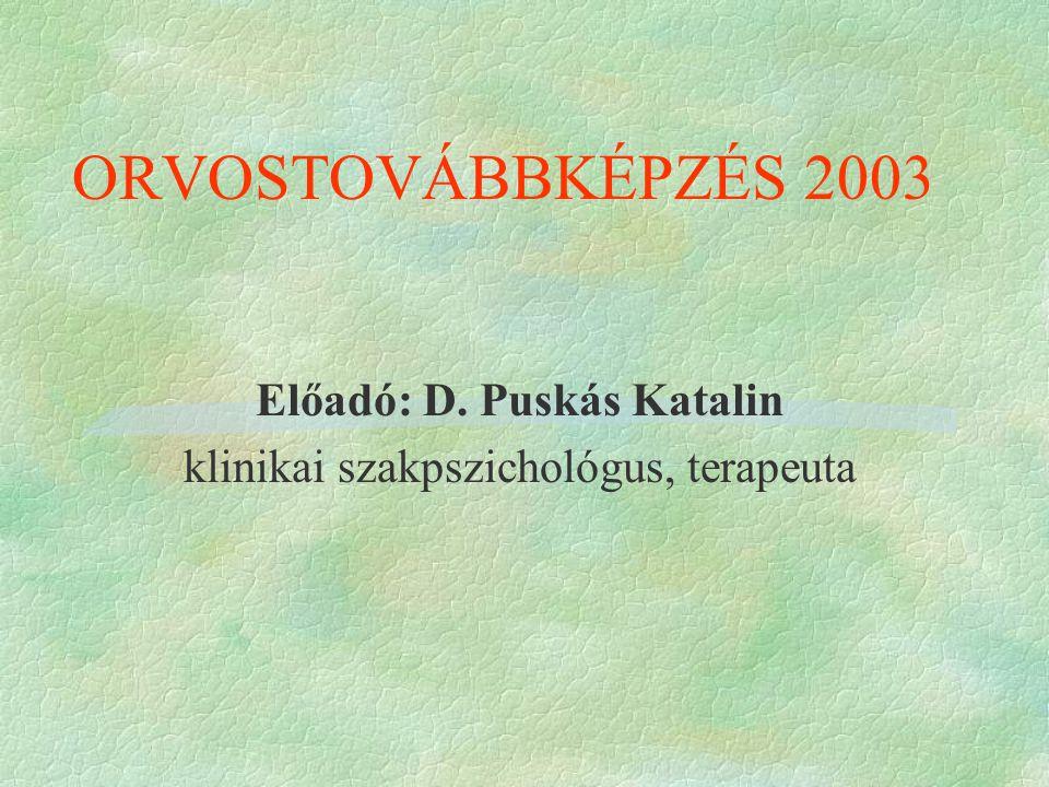 ORVOSTOVÁBBKÉPZÉS 2003 Előadó: D. Puskás Katalin klinikai szakpszichológus, terapeuta