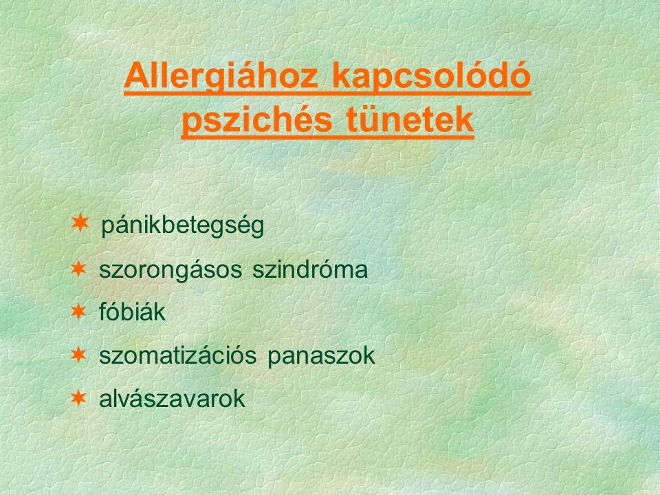 Allergiához kapcsolódó pszichés tünetek  pánikbetegség  szorongásos szindróma  fóbiák  szomatizációs panaszok  alvászavarok
