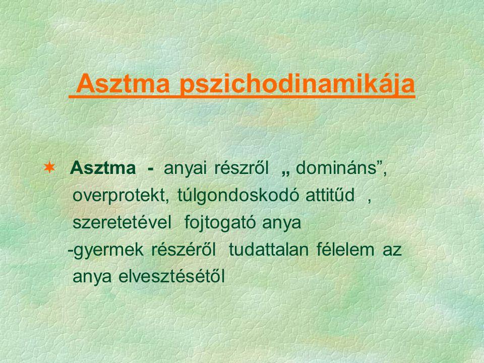 """Asztma pszichodinamikája  Asztma - anyai részről """" domináns"""", overprotekt, túlgondoskodó attitűd, szeretetével fojtogató anya -gyermek részéről tudat"""