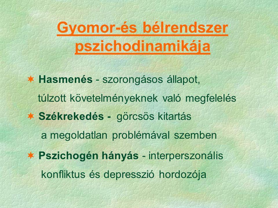 Gyomor-és bélrendszer pszichodinamikája  Hasmenés - szorongásos állapot, túlzott követelményeknek való megfelelés  Székrekedés - görcsös kitartás a