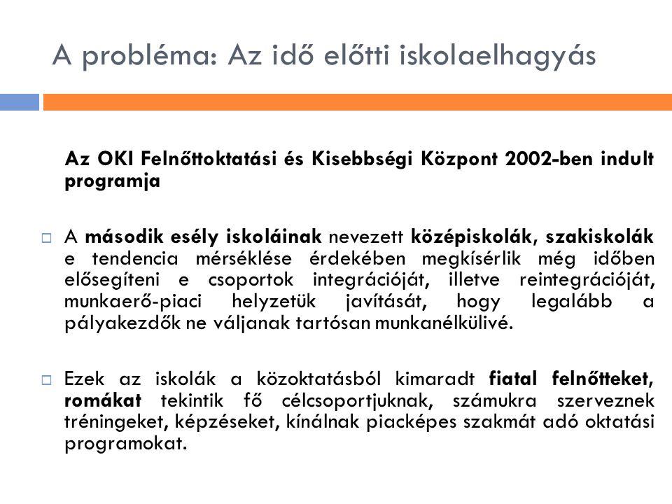 A probléma: Az idő előtti iskolaelhagyás Az OKI Felnőttoktatási és Kisebbségi Központ 2002-ben indult programja  A második esély iskoláinak nevezett