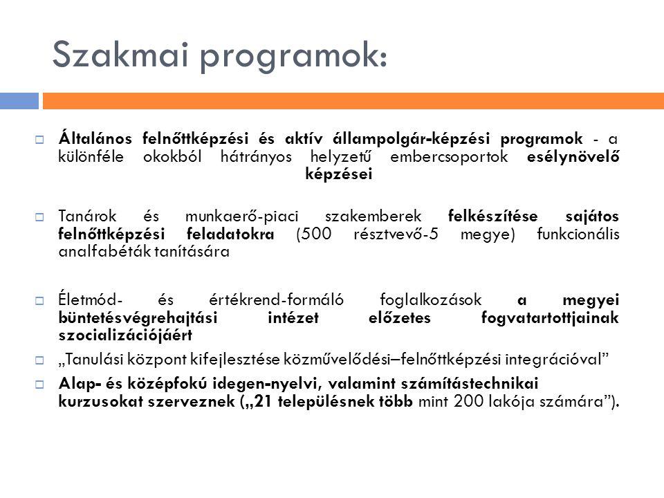 Szakmai programok:  Általános felnőttképzési és aktív állampolgár-képzési programok - a különféle okokból hátrányos helyzetű embercsoportok esélynöve