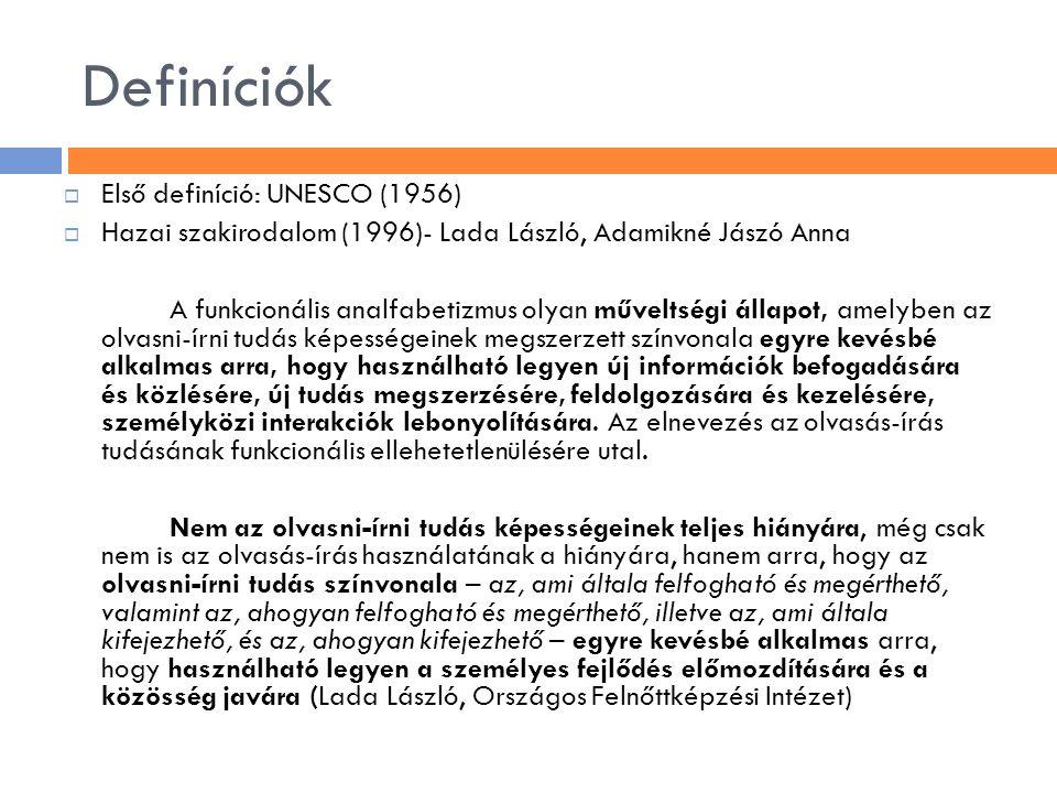 Definíciók  Első definíció: UNESCO (1956)  Hazai szakirodalom (1996)- Lada László, Adamikné Jászó Anna A funkcionális analfabetizmus olyan műveltség