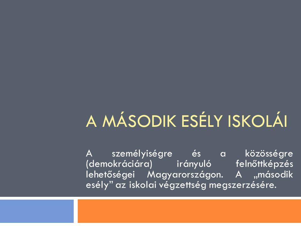 """A MÁSODIK ESÉLY ISKOLÁI A személyiségre és a közösségre (demokráciára) irányuló felnőttképzés lehetőségei Magyarországon. A """"második esély"""" az iskolai"""