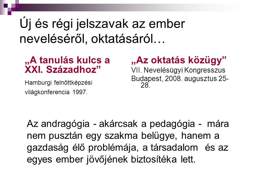 """Új és régi jelszavak az ember neveléséről, oktatásáról… """"A tanulás kulcs a XXI. Századhoz"""" Hamburgi felnőttképzési világkonferencia 1997. """"Az oktatás"""