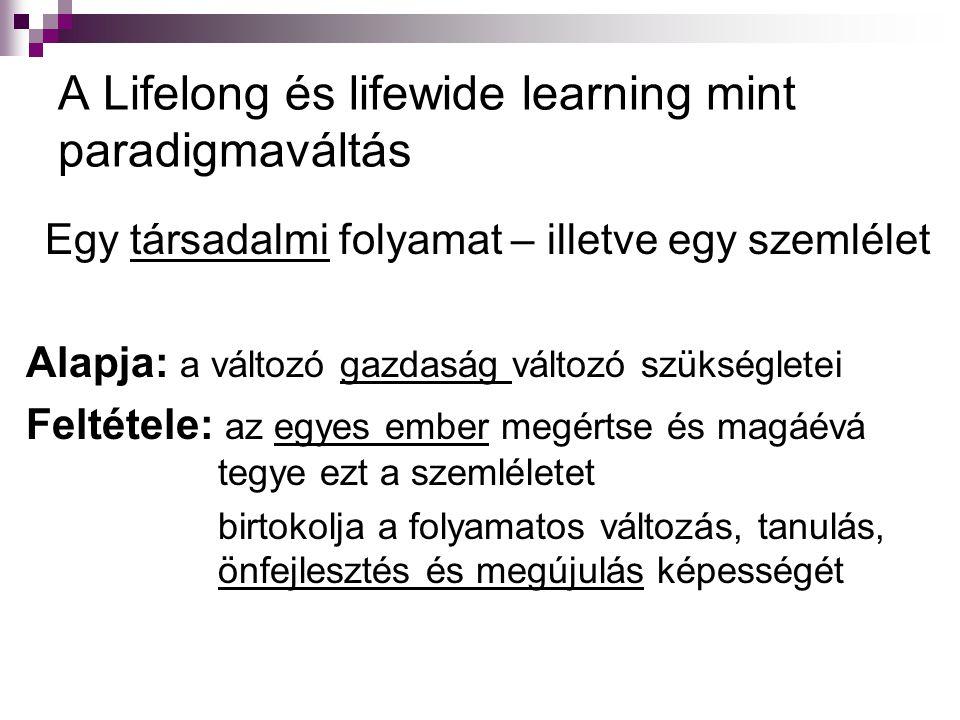 A Lifelong és lifewide learning mint paradigmaváltás Egy társadalmi folyamat – illetve egy szemlélet Alapja: a változó gazdaság változó szükségletei F