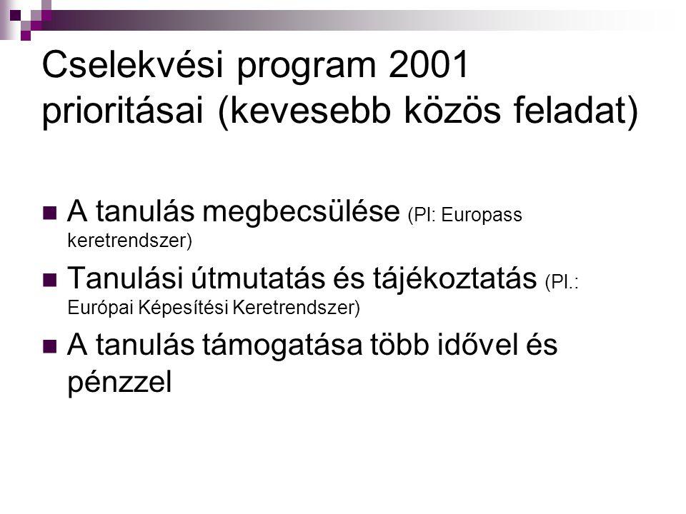 Cselekvési program 2001 prioritásai (kevesebb közös feladat) A tanulás megbecsülése (Pl: Europass keretrendszer) Tanulási útmutatás és tájékoztatás (P