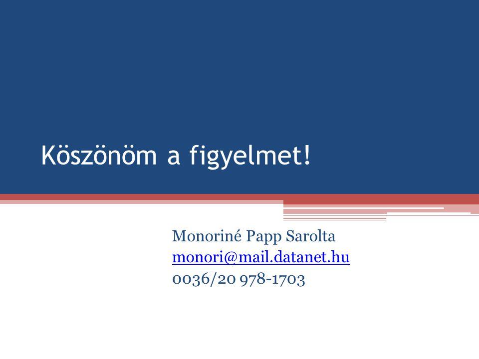 Köszönöm a figyelmet! Monoriné Papp Sarolta monori@mail.datanet.hu 0036/20 978-1703
