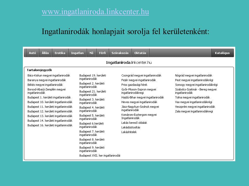 www.ingatlaniroda.linkcenter.hu Ingatlanirodák honlapjait sorolja fel kerületenként: