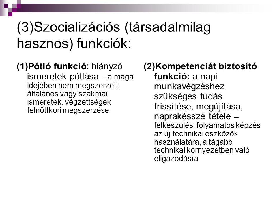 (3)Szocializációs (társadalmilag hasznos) funkciók: (1)Pótló funkció: hiányzó ismeretek pótlása - a maga idejében nem megszerzett általános vagy szakm