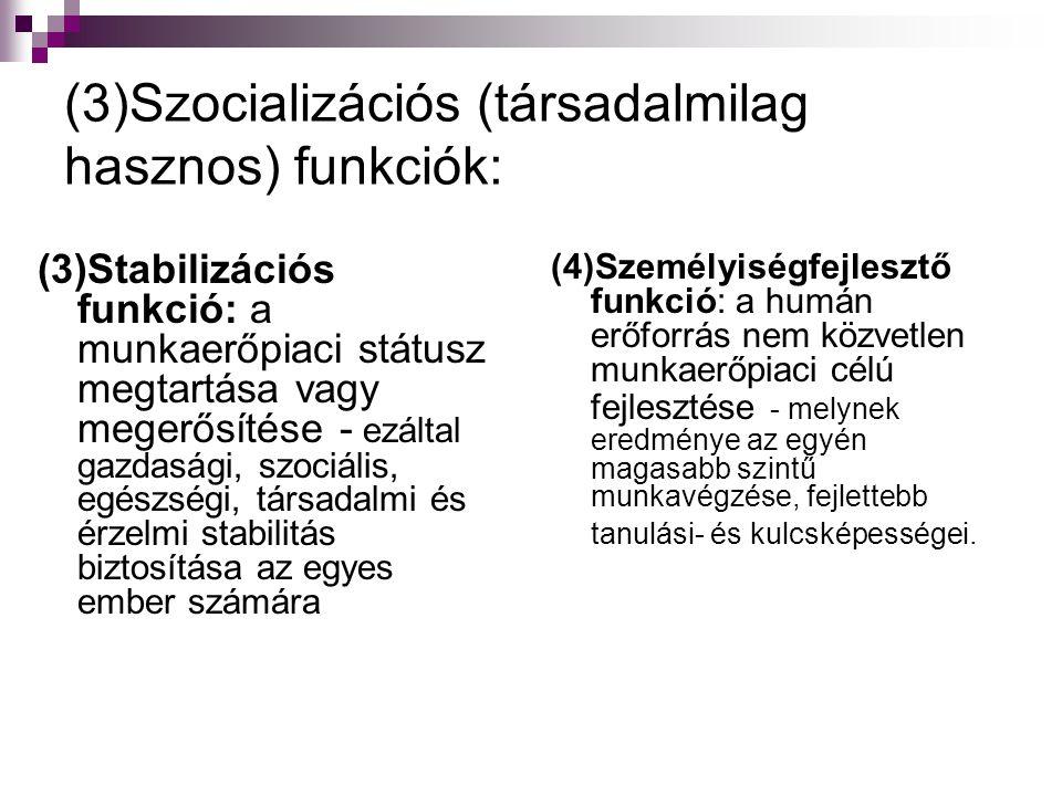 (3)Szocializációs (társadalmilag hasznos) funkciók: (3)Stabilizációs funkció: a munkaerőpiaci státusz megtartása vagy megerősítése - ezáltal gazdasági