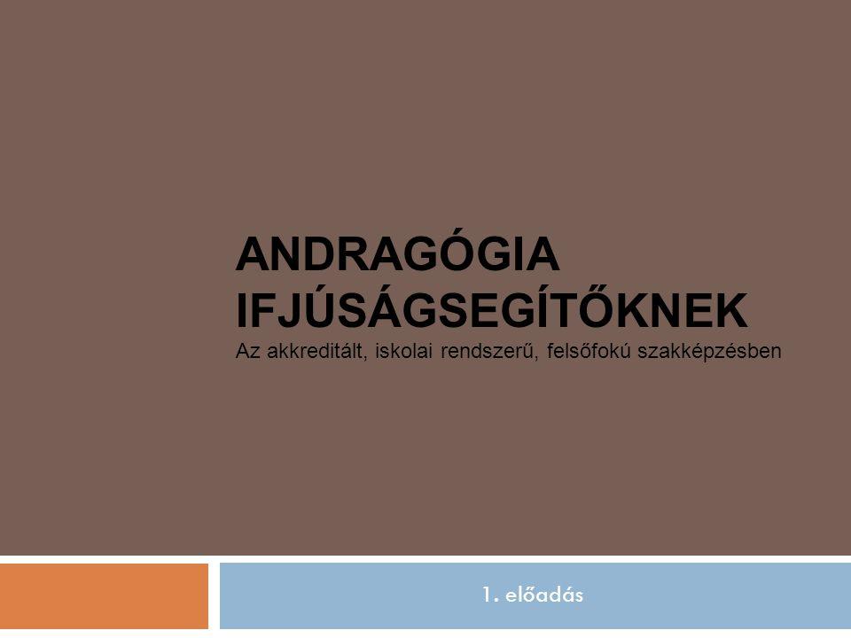Bevezető előadás ANDRAGÓGIA IFJÚSÁGSEGÍTŐKNEK Az akkreditált, iskolai rendszerű, felsőfokú szakképzésben 1.