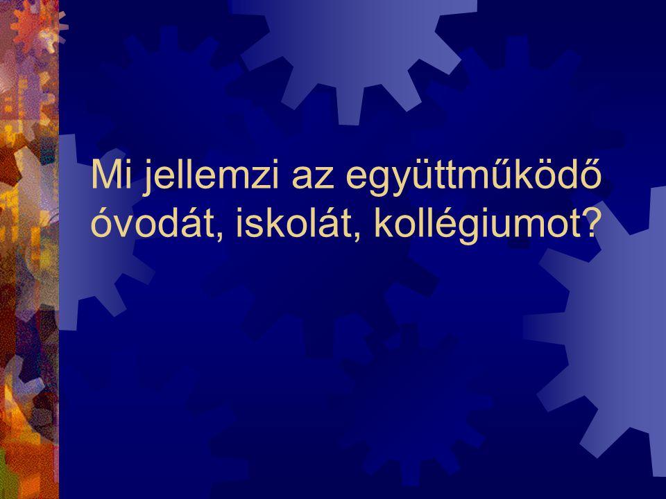 A rendszerkiépítés eredménye Együttműködő intézmény Információkezelési, kommunikációs, kooperációs standardok Önfejlesztő intézmény Folyamatos fejlődé