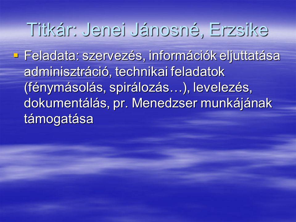Titkár: Jenei Jánosné, Erzsike  Feladata: szervezés, információk eljuttatása adminisztráció, technikai feladatok (fénymásolás, spirálozás…), levelezés, dokumentálás, pr.