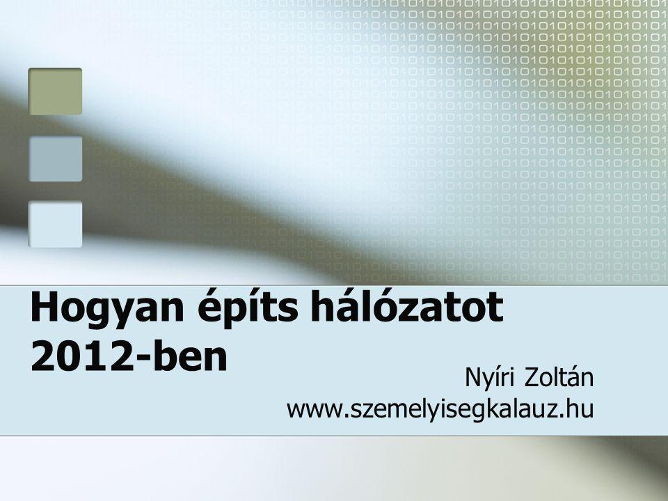 Hogyan építs hálózatot 2012-ben Nyíri Zoltán www.szemelyisegkalauz.hu