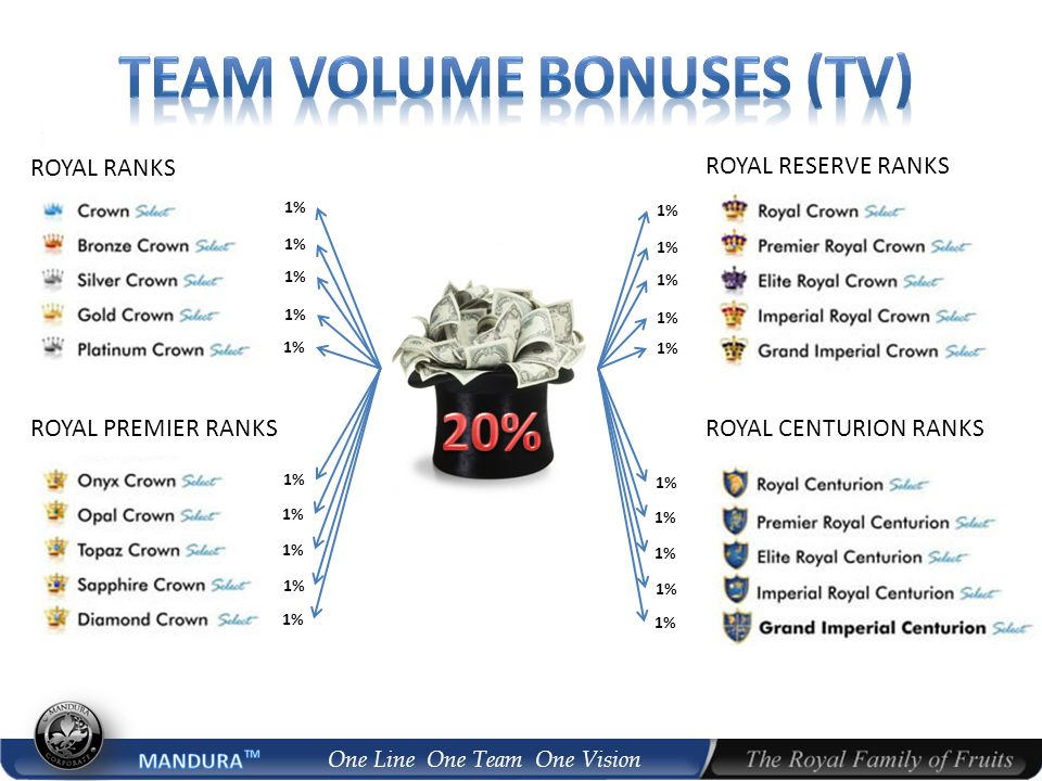 One Line One Team One Vision 1% ROYAL RANKS ROYAL PREMIER RANKS 1% ROYAL RESERVE RANKS ROYAL CENTURION RANKS