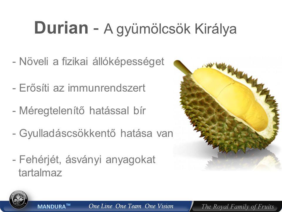 One Line One Team One Vision Durian - A gyümölcsök Királya - Növeli a fizikai állóképességet - Erősíti az immunrendszert - Méregtelenítő hatással bír - Gyulladáscsökkentő hatása van - Fehérjét, ásványi anyagokat tartalmaz