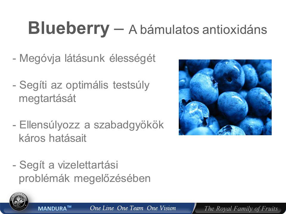 One Line One Team One Vision Blueberry – A bámulatos antioxidáns - Megóvja látásunk élességét - Segíti az optimális testsúly megtartását - Ellensúlyozz a szabadgyökök káros hatásait - Segít a vizelettartási problémák megelőzésében