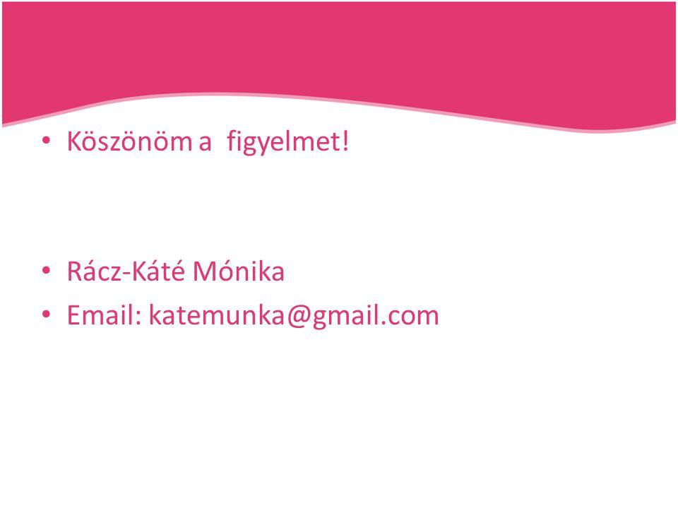 Köszönöm a figyelmet! Rácz-Káté Mónika Email: katemunka@gmail.com