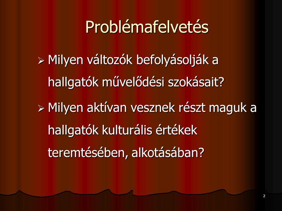 2 Problémafelvetés  Milyen változók befolyásolják a hallgatók művelődési szokásait.