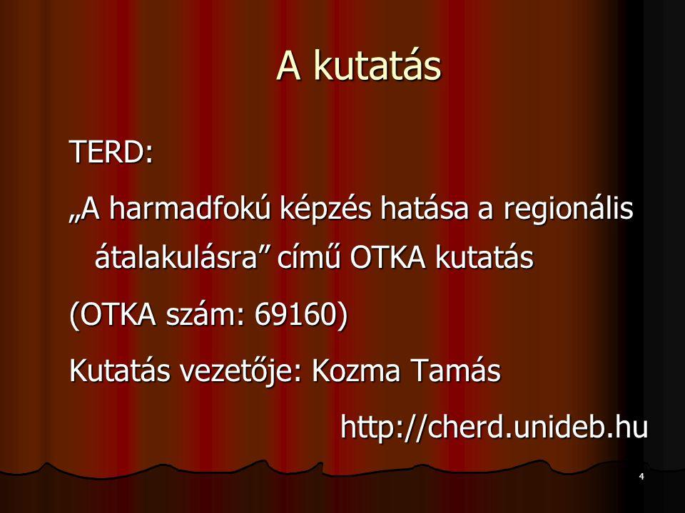 """4 A kutatás TERD: """"A harmadfokú képzés hatása a regionális átalakulásra című OTKA kutatás (OTKA szám: 69160) Kutatás vezetője: Kozma Tamás http://cherd.unideb.hu"""