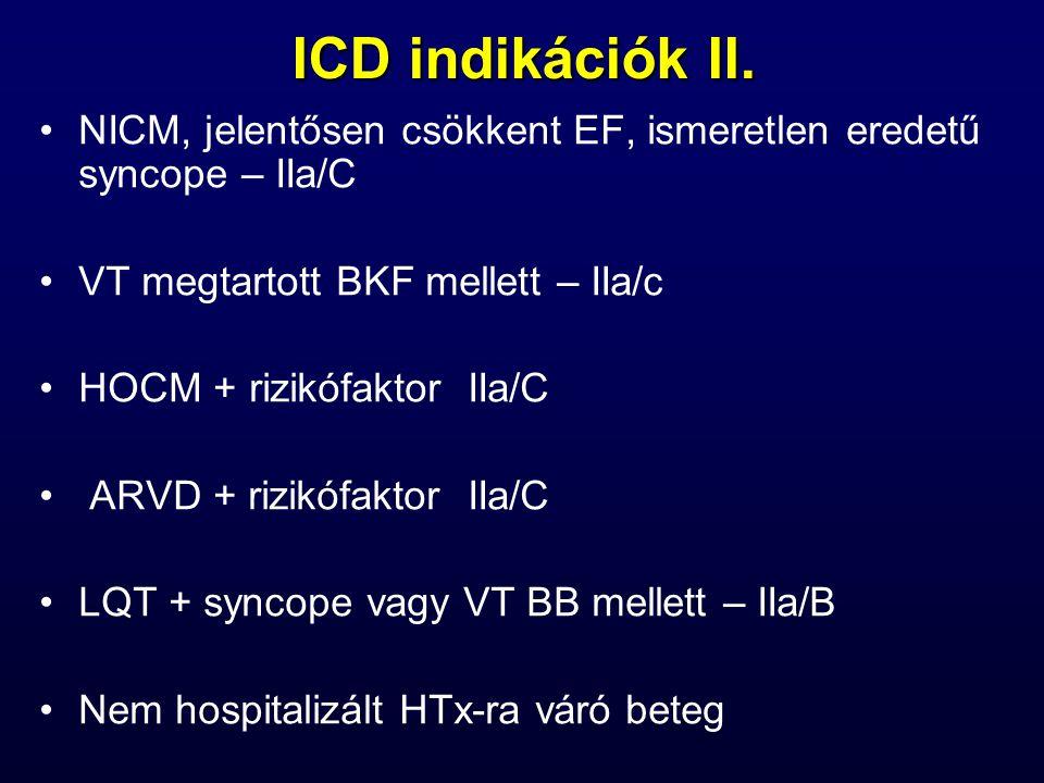 ICD indikációk II. NICM, jelentősen csökkent EF, ismeretlen eredetű syncope – IIa/C VT megtartott BKF mellett – IIa/c HOCM + rizikófaktor IIa/C ARVD +
