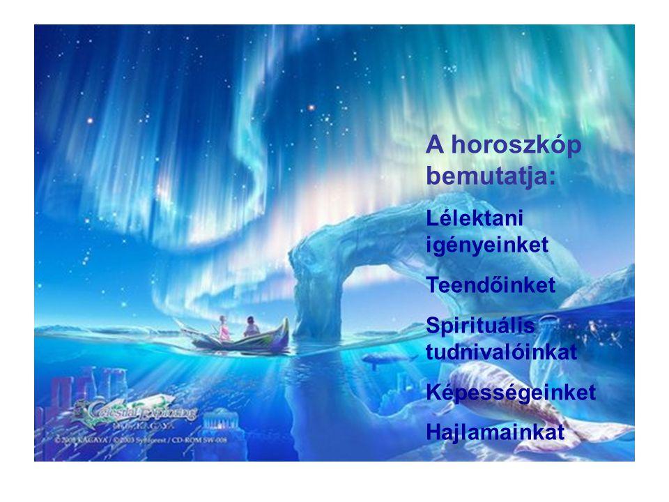 A horoszkóp bemutatja: Lélektani igényeinket Teendőinket Spirituális tudnivalóinkat Képességeinket Hajlamainkat