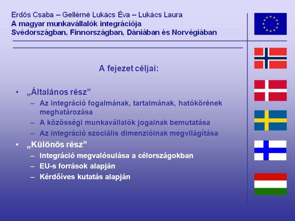 """A fejezet céljai: """"Általános rész –Az integráció fogalmának, tartalmának, hatókörének meghatározása –A közösségi munkavállalók jogainak bemutatása –Az integráció szociális dimenzióinak megvilágítása """"Különös rész –Integráció megvalósulása a célországokban –EU-s források alapján –Kérdőíves kutatás alapján"""