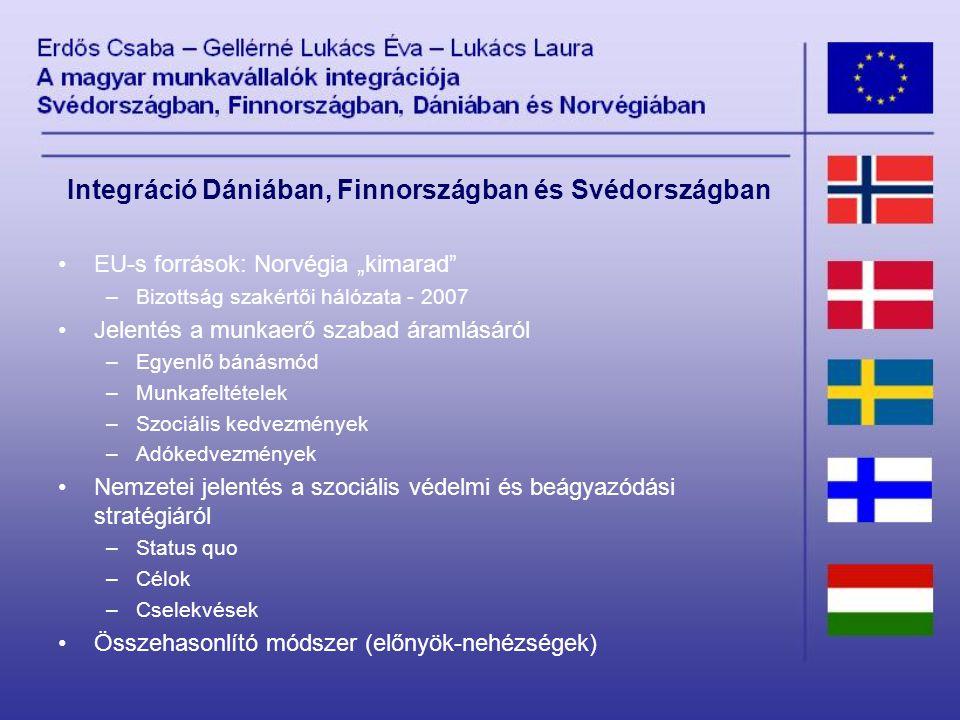 """Integráció Dániában, Finnországban és Svédországban EU-s források: Norvégia """"kimarad –Bizottság szakértői hálózata - 2007 Jelentés a munkaerő szabad áramlásáról –Egyenlő bánásmód –Munkafeltételek –Szociális kedvezmények –Adókedvezmények Nemzetei jelentés a szociális védelmi és beágyazódási stratégiáról –Status quo –Célok –Cselekvések Összehasonlító módszer (előnyök-nehézségek)"""