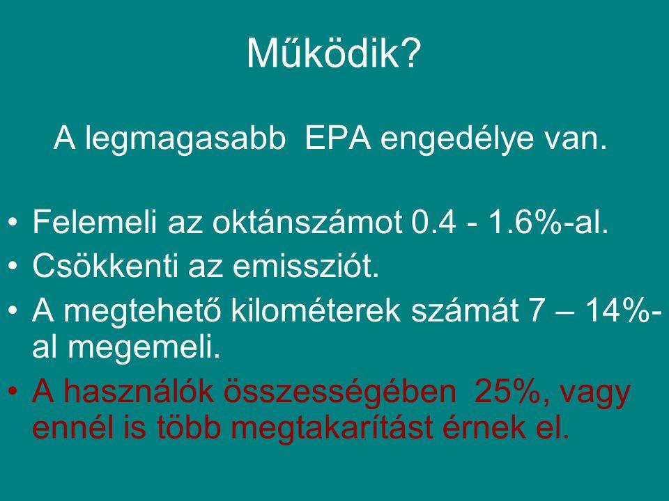 Működik. A legmagasabb EPA engedélye van. Felemeli az oktánszámot 0.4 - 1.6%-al.