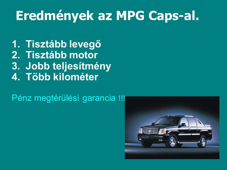 Eredmények az MPG Caps-al. 1. Tisztább levegő 2.