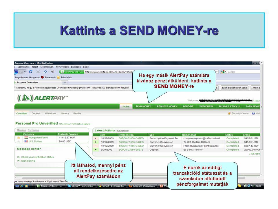 Kattints a SEND MONEY-re Itt láthatod, mennyi pénz áll rendelkezésedre az AlertPay számládon E sorok az eddigi tranzakcióid státuszát és a számládon átfuttatott pénzforgalmat mutatják Ha egy másik AlertPay számlára kívánsz pénzt átküldeni, kattints a SEND MONEY -re