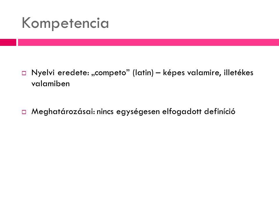 A kompetencia (köznapi használat alapján)  illetékesség, jogosultság, hatáskör  szakértelem, felkészültség, hozzáértés  beavatottság Kompetens az, aki illetékes …stb.
