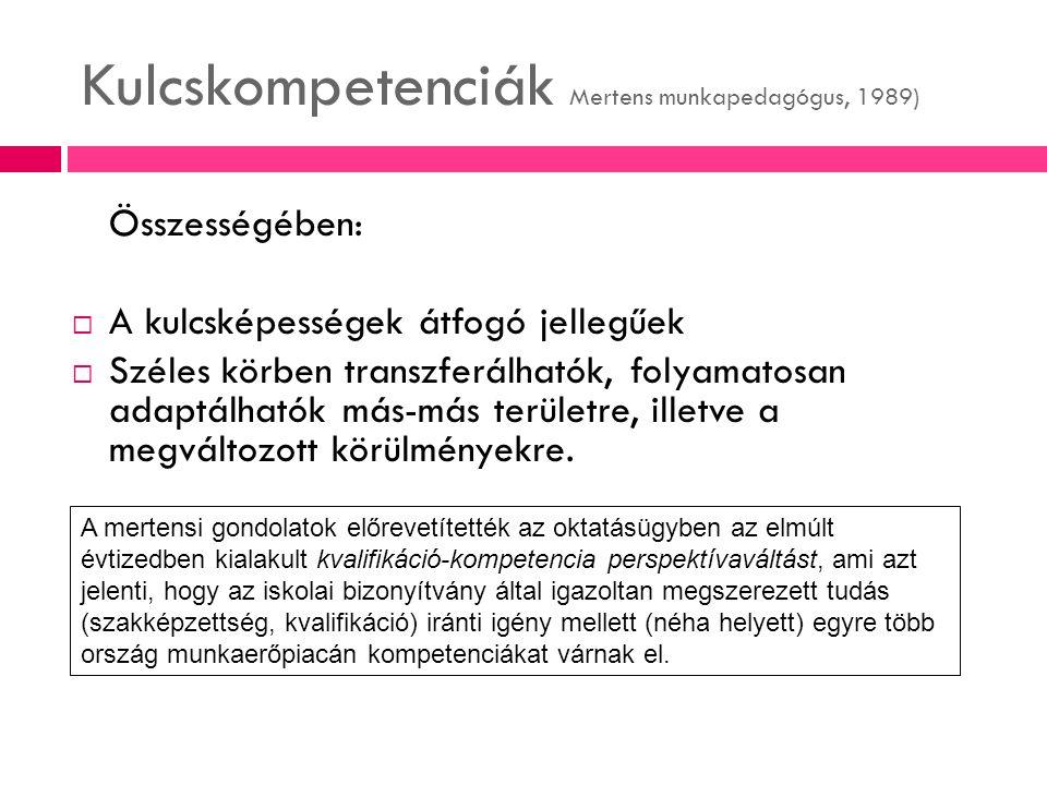 Kulcskompetenciák Mertens munkapedagógus, 1989) Összességében:  A kulcsképességek átfogó jellegűek  Széles körben transzferálhatók, folyamatosan ada