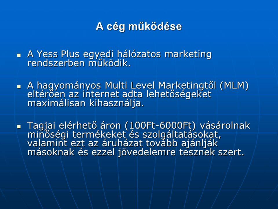 A cég működése A Yess Plus egyedi hálózatos marketing rendszerben működik. A Yess Plus egyedi hálózatos marketing rendszerben működik. A hagyományos M