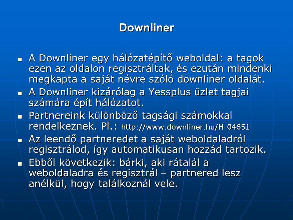Downliner A Downliner egy hálózatépítő weboldal: a tagok ezen az oldalon regisztráltak, és ezután mindenki megkapta a saját névre szóló downliner olda