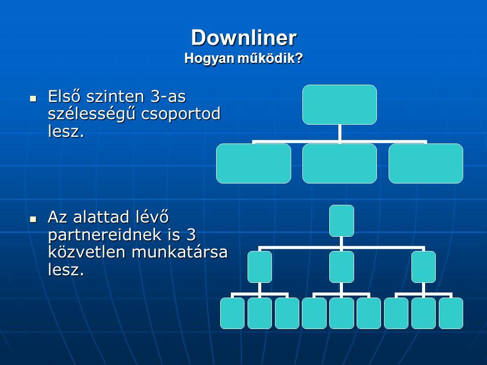 Downliner Hogyan működik? Első szinten 3-as szélességű csoportod lesz. Első szinten 3-as szélességű csoportod lesz. Az alattad lévő partnereidnek is 3
