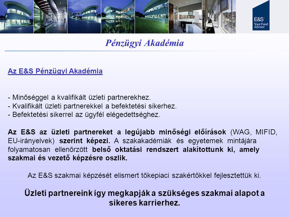 Pénzügyi Akadémia Az E&S Pénzügyi Akadémia - Minőséggel a kvalifikált üzleti partnerekhez. - Kvalifikált üzleti partnerekkel a befektetési sikerhez. -