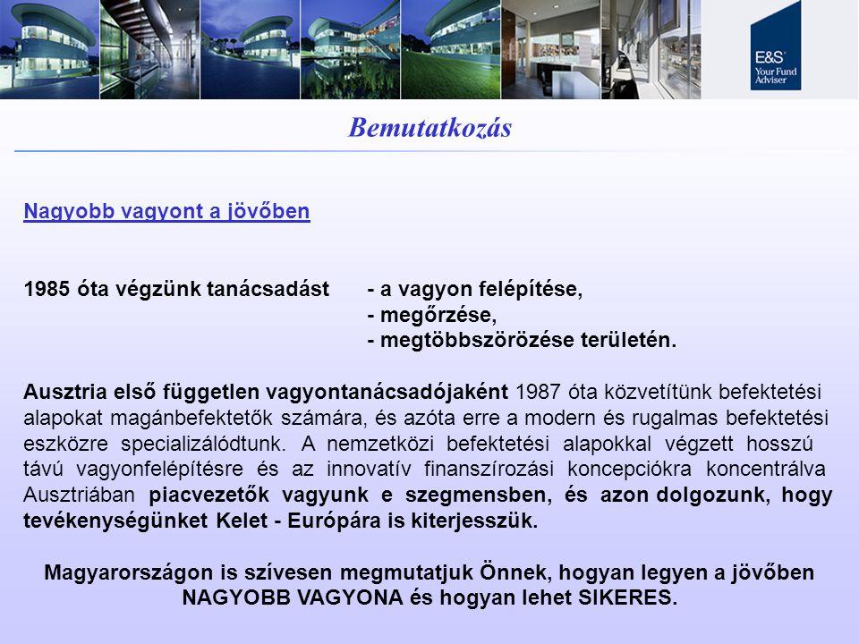 Bemutatkozás Nagyobb vagyont a jövőben 1985 óta végzünk tanácsadást- a vagyon felépítése, - megőrzése, - megtöbbszörözése területén. Ausztria első füg