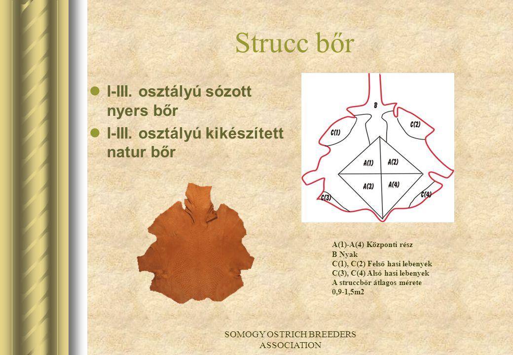 SOMOGY OSTRICH BREEDERS ASSOCIATION Strucchús termékek Ostrich Buyer Meat Catalogue alapján A bontás részei Fan fillet Eye fillet Tournedos Oyster fil