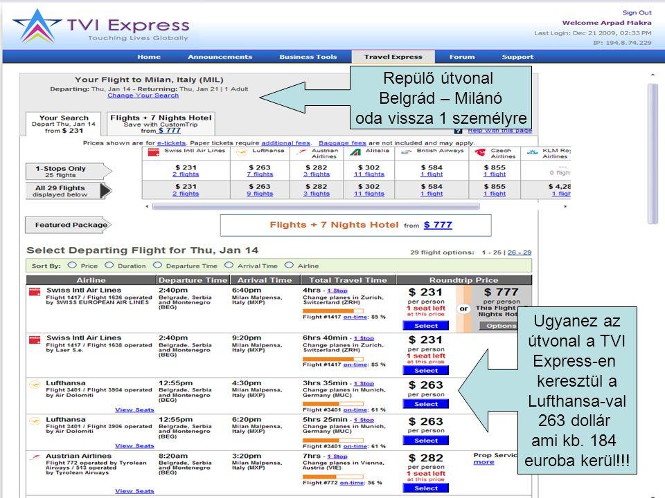 Ugyanez az útvonal a TVI Express-en keresztül a Lufthansa-val 263 dollár ami kb.