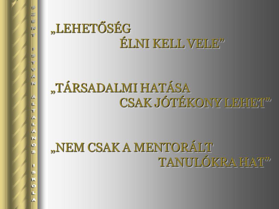 """""""LEHETŐSÉG ÉLNI KELL VELE """"TÁRSADALMI HATÁSA CSAK JÓTÉKONY LEHET """"NEM CSAK A MENTORÁLT TANULÓKRA HAT """"LEHETŐSÉG ÉLNI KELL VELE """"TÁRSADALMI HATÁSA CSAK JÓTÉKONY LEHET """"NEM CSAK A MENTORÁLT TANULÓKRA HAT"""