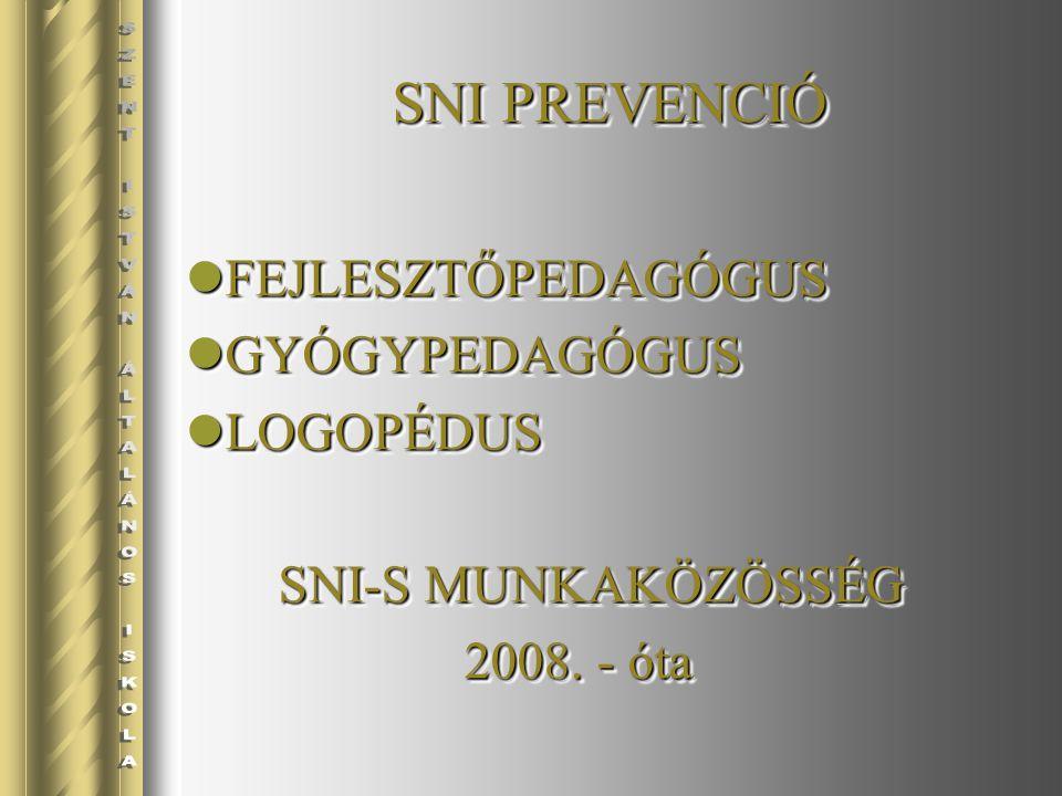 SNI PREVENCIÓ FEJLESZTŐPEDAGÓGUS FEJLESZTŐPEDAGÓGUS GYÓGYPEDAGÓGUS GYÓGYPEDAGÓGUS LOGOPÉDUS LOGOPÉDUS SNI-S MUNKAKÖZÖSSÉG SNI-S MUNKAKÖZÖSSÉG 2008.