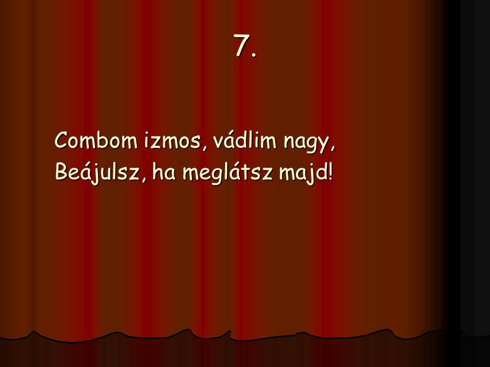 7. Combom izmos, vádlim nagy, Beájulsz, ha meglátsz majd!