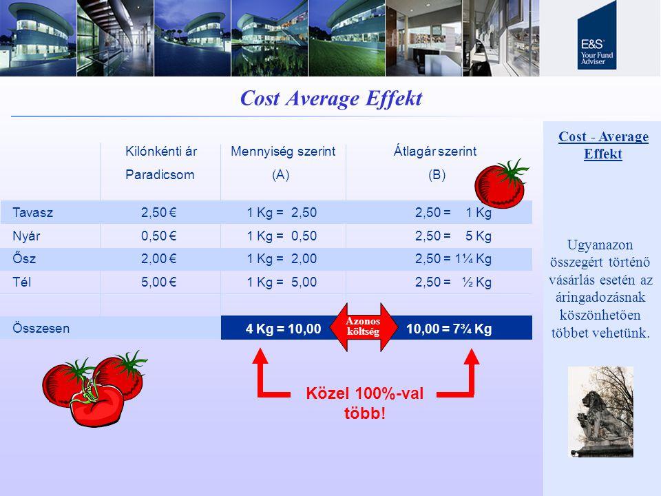 Cost Average Effekt Kilónkénti ár Mennyiség szerint Átlagár szerint Paradicsom (A) (B) Tavasz 2,50 € Nyár 0,50 € Ősz 2,00 € Tél 5,00 € Összesen 1 Kg = 2,50 1 Kg = 0,50 1 Kg = 2,00 1 Kg = 5,00 2,50 = 1 Kg 2,50 = 5 Kg 2,50 = 1¼ Kg 2,50 = ½ Kg 4 Kg = 10,00 = 7¾ Kg Közel 100%-val több.