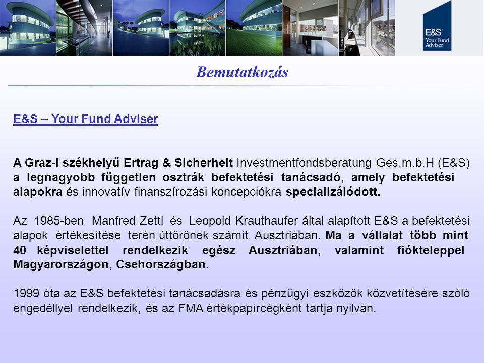 Bemutatkozás E&S – Your Fund Adviser A Graz-i székhelyű Ertrag & Sicherheit Investmentfondsberatung Ges.m.b.H (E&S) a legnagyobb független osztrák befektetési tanácsadó, amely befektetési alapokra és innovatív finanszírozási koncepciókra specializálódott.