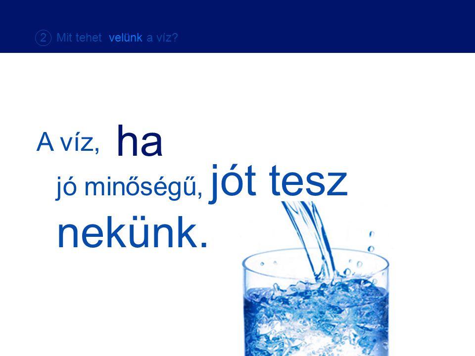 A víz, ha jó minőségű, jót tesz nekünk. 2 Mit tehet velünk a víz?