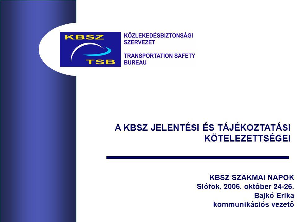 2 Bajkó Erika, Siófok, 2006.10.24-26.A KBSZ JELENTÉSI ÉS TÁJÉKOZTATÁSI KÖTELEZETTSÉGEI 2005.