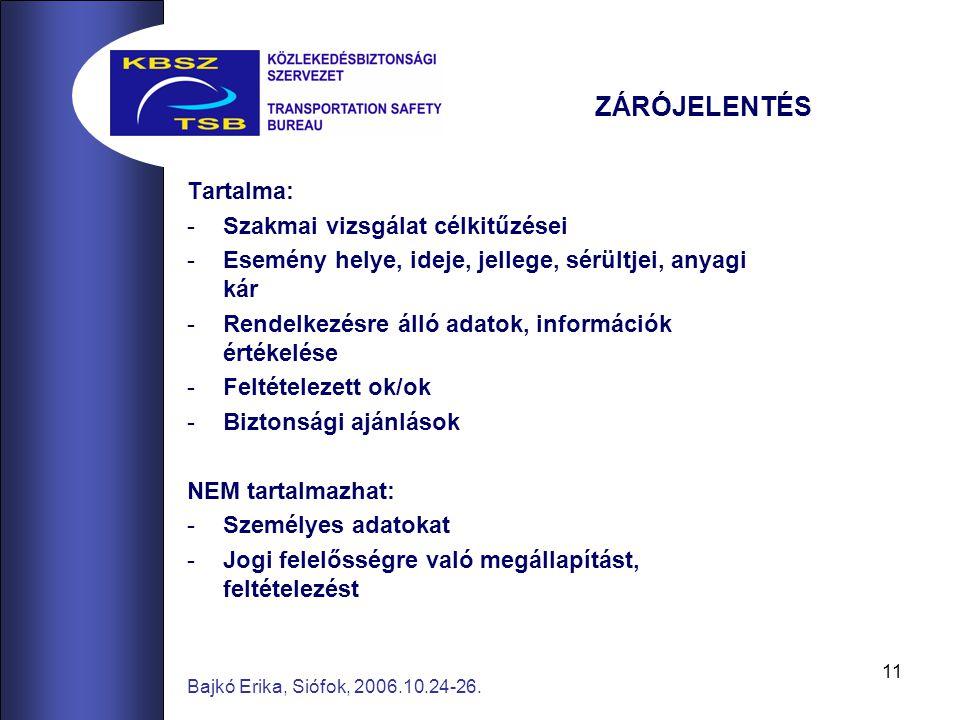 11 Bajkó Erika, Siófok, 2006.10.24-26. Tartalma: -Szakmai vizsgálat célkitűzései -Esemény helye, ideje, jellege, sérültjei, anyagi kár -Rendelkezésre