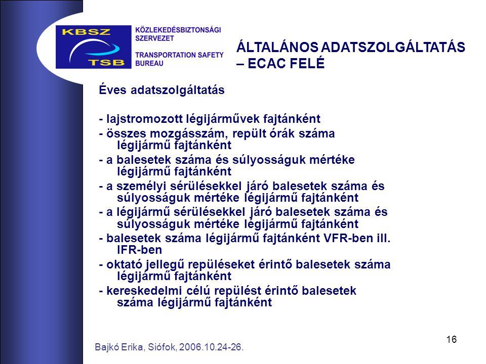 16 Bajkó Erika, Siófok, 2006.10.24-26. Éves adatszolgáltatás - lajstromozott légijárművek fajtánként - összes mozgásszám, repült órák száma légijármű